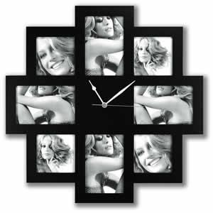 Horloge cadre multivues noir 8 photos 13x18 10x10