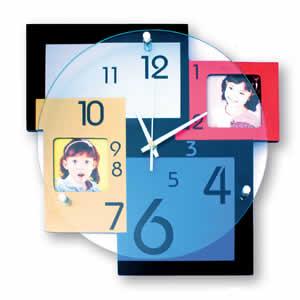 Horloge personnalisable deux photos 6,5x6,5cm