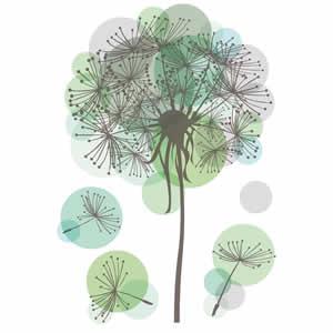 Sticker deco 34,5x49 cm fleur verte Clairefontaine