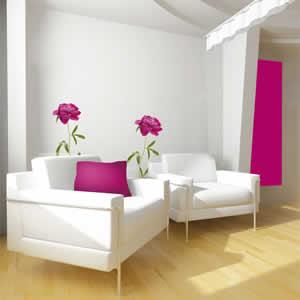 Sticker mural 49x69 cm fleur pivoine rose