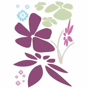 Sticker mural deco 49x69 cm Fleur Clairefontaine