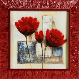 Huile sur toile 30x30cm avec cadre laqué rouge