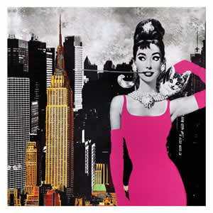 Tableau Audrey Hepburn New York 40x40