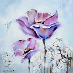 Toile peinte floral 60x60 bleu