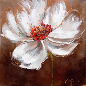 Toile peinte floral 60x60 marron