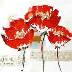 Toile peinte floral 60x60 rouge