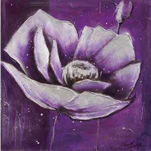 Toile peinte floral 60x60 violet