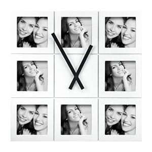 Horloge cadre multivues blanc 8 photos 10x10