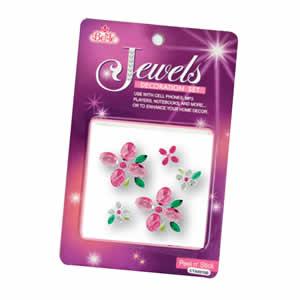 Bijoux décoratifs autocollants fleurs roses