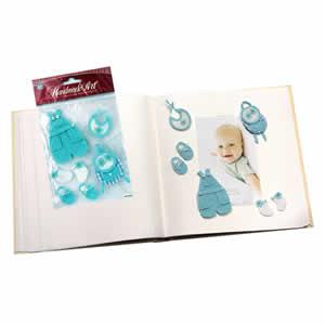 Sticker décoration bleu naissance garçon 12x15cm