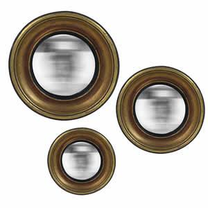 Lot de 3 miroirs ronds bords doré Convex Emdé
