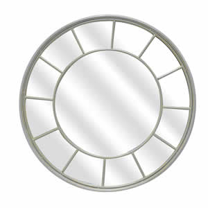 Miroir fenêtre rond Coralie métal blanc 90cm Emdé