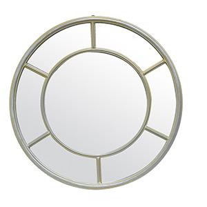 Miroir fenêtre rond Coralie métal taupe 50cm Emdé