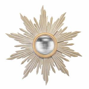 Miroir Soleil convex taupe et or Emdé