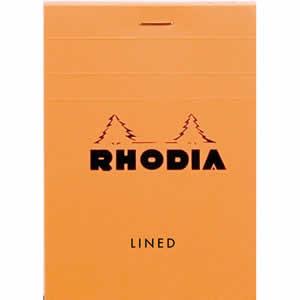 Bloc Rhodia 85x120 ligné agrafé en-tête orange