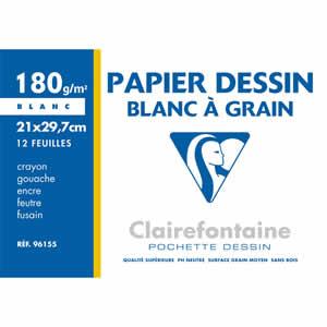 Pochette dessin blanc à grain A4 180 g 12 feuilles