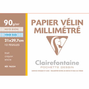 Pochette papier millimétré A4 90 gr 12+3 feuilles